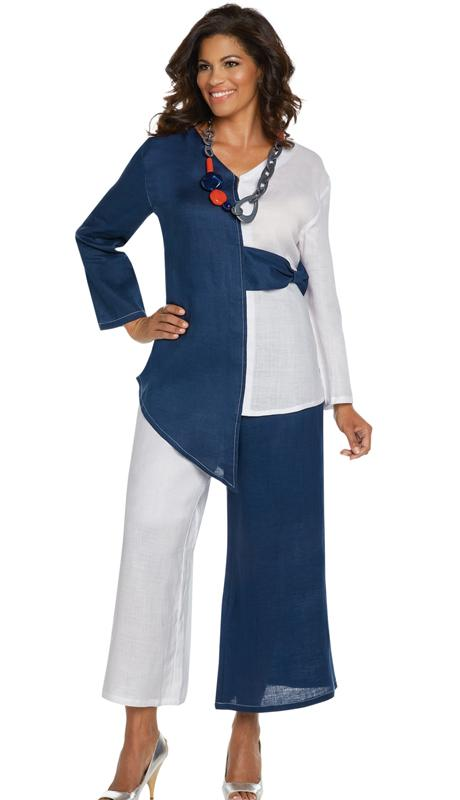 Lisa Rene By Donna Vinci-3333-White/Navy - Church Suits For Less