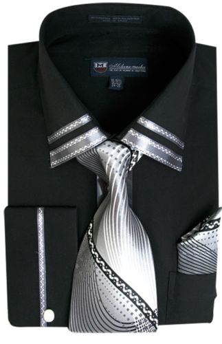 Men Dress Shirt SG28-Black