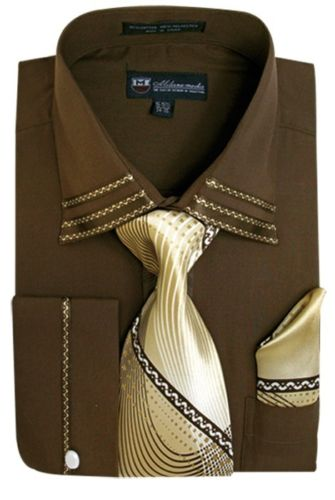 Men Dress Shirt SG28-Brown