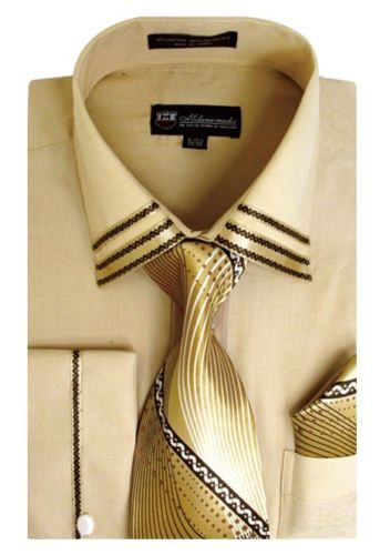 Men Dress Shirt SG28-Khaki