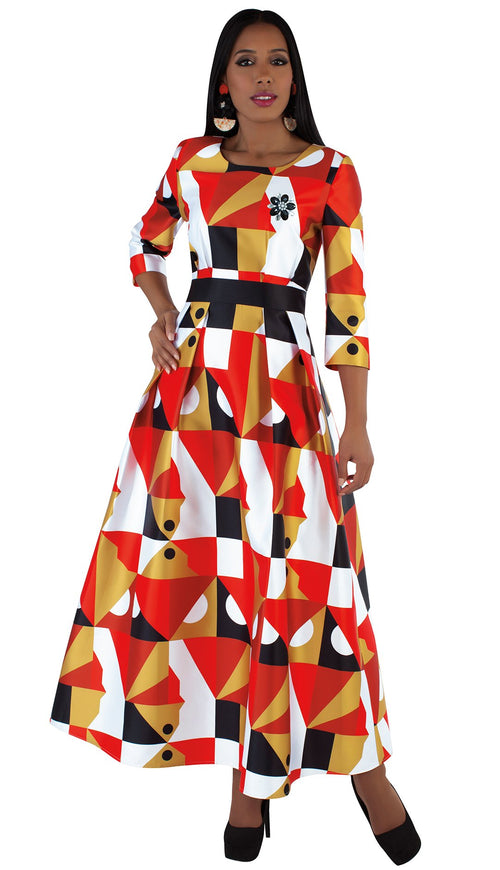 Tally Taylor Dress 4497-Orange/Multi - Church Suits For Less
