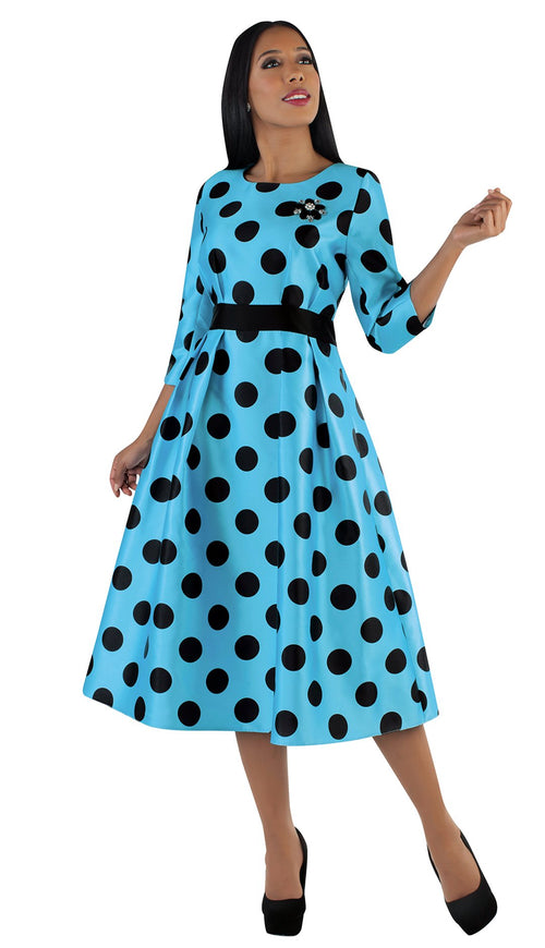Tally Taylor Dress 4726-Blue/Black - Church Suits For Less