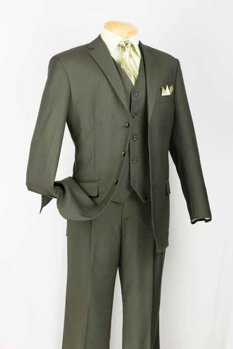 Vinci Men Suit 3TR-3-Olive - Church Suits For Less