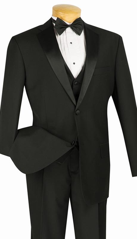 Vinci Men Tuxedo 4TV1-Black - Church Suits For Less