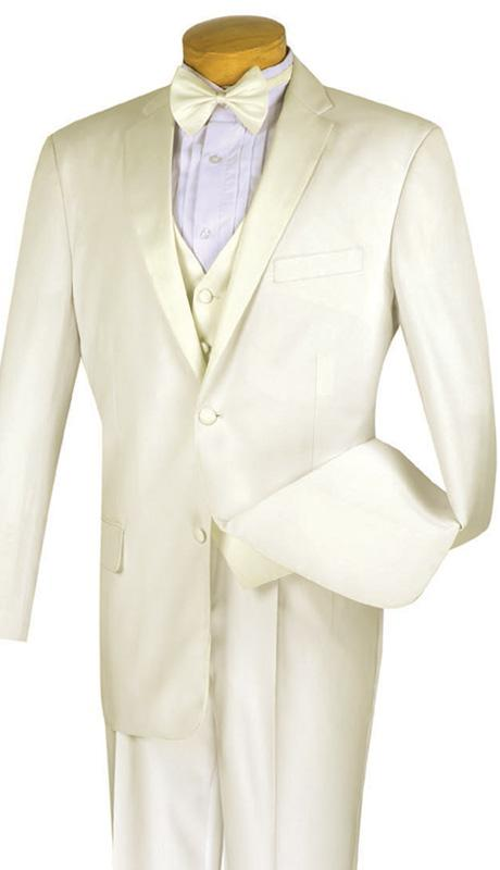 Vinci Men Tuxedo 4TV1-Ivory - Church Suits For Less