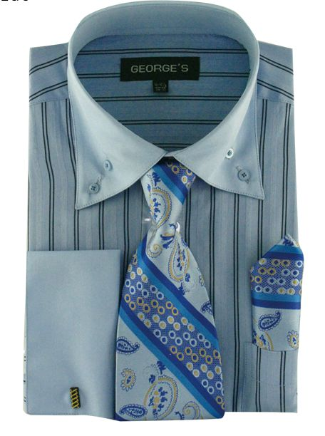 Men Dress Shirt AH601-Blue