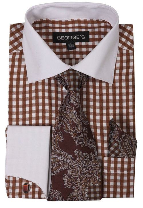 Men Dress Shirt AH615-Brown