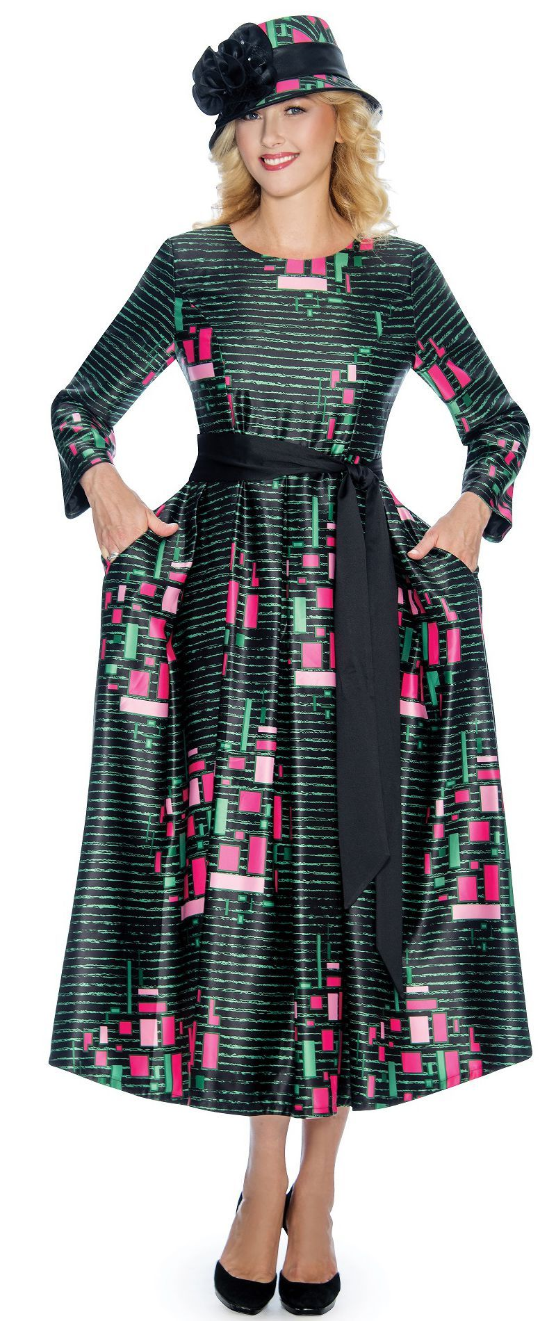 Giovanna Dress D1349-Black/Pink - Church Suits For Less