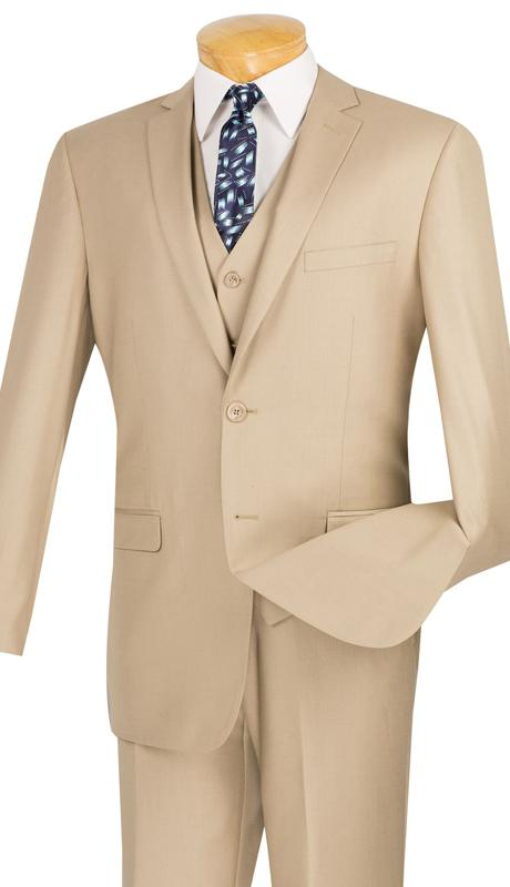 Vinci Men Suit SV2900C-Beige - Church Suits For Less
