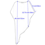 Kate Kasin Women's Chiffon Cover-up Asymmetric 3/4 Batwing Sleeve Crew Neck See-through