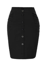 M-2XL Womens Vintage Buttons Stretchy 50s Hips-wrapped Bodycon Pin Up Skirt Plus