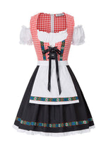 Women 2pcs Set German Bavarian Oktoberfest Costumes Cold Shoulder Dress+Apron