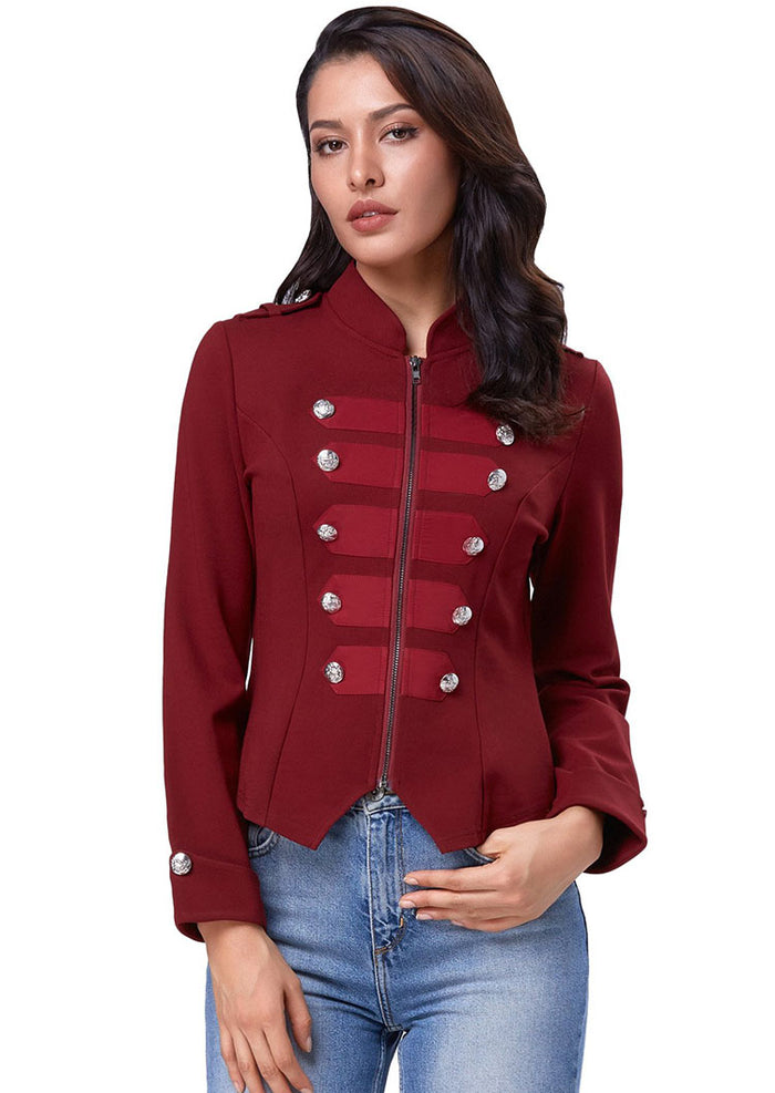 Kate Kasin Womens Buttons Decorated Zipper Long Sleeves Jacket Coat Tops XL S