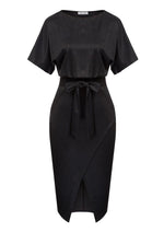 Kate Kasin Women's Wrap Front Bodycon Pencil Dress Short Batwing Sleeve Scoop Neck