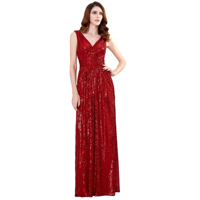 Kate Kasin Sleeveless V-Neck Shining Sequined Bridesmaids Wedding Evening Party Dress