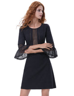 2018 Fashion Sexy Women's Nine Point Sleeve Crew Neck Sheer Front A-line Dresses
