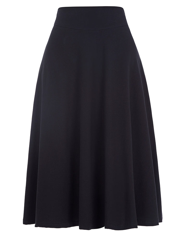 KK Vintage Women Stretch High Waist Skater Flared Pleated Swing Long Skirt Dress