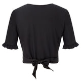 Kate Kasin Women's Cropped Tops Short Sleeve Deep V-Neck Tie Front/Wrap Sexy Summer