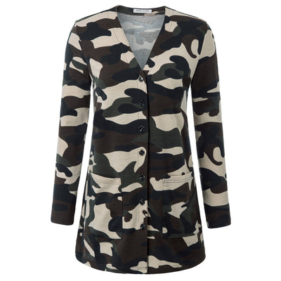 Kate Kasin Women's Leopard Pattern Long Sleeve V-Neck Button Placket Coat With Pockets