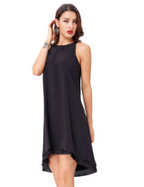 Fashion Sexy Women' Lady Party Sleeveless Shallow V-neck Two-layer Cotton Dress