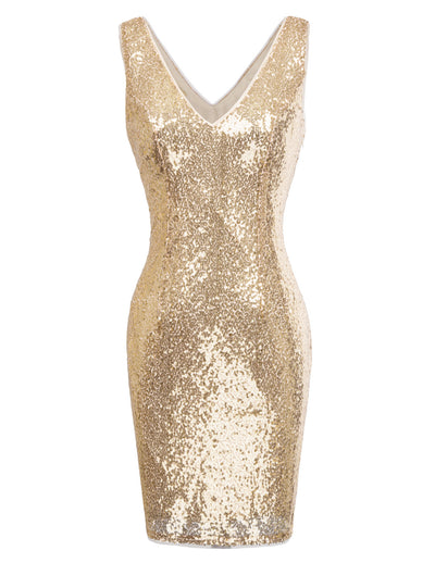 Womens Shinning Sequined Sleeveless Slim Bodycon Party Short Mini Pencil Dresses