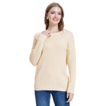 Kate Kasin Women's Thickened Sweater Winter Warm Long Sleeve Crew Neck Dropped Shoulders