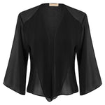 Kate Kasin Women's Chiffon Cover-up 3/4 Sleeve Open Front Semi See-Through Summer