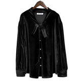 Kate Kasin Women's Tie-Neck Velvet Shirt Tops Button Placket Long Sleeve Loose Fit