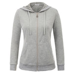 Kate Kasin Women's Sports Hooded Coat Hoodies With Pockets Long Sleeve Zip-up Casual