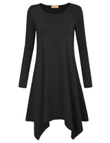 Kk Womenm Loose Fit Long Sleeve Crew Neck Irregular Hem A-line Dress 2018 Spring