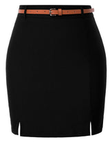 Kate Kasin Women's Mini Skirt Belt Decorated Hips-Wrapped Front Split Sexy Stretchy