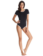 Sexy Women Short Sleeve Crew Neck Cotton Bodysuit Leotard Teddy 2018 Summer