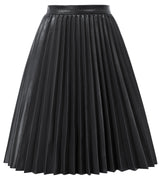 Kate Kasin Women's Faux Leather Pleated Skirt Flared A-Line Knee Length Stretchy