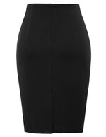 KK Women's Pleated Front Back Split Hips-wrapped Bodycon Pencil Skirt