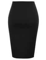 KK Women's Solid Color Elastic Waist Split Hips-Wrapped Bodycon Pencil Skirt