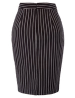 KK Women Pinstripe Pattern High Waist Hips-Wrapped Cotton Bodycon Pencil Skirt