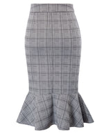 Kate Kasin Ladies Checkered Pencil Skirt Mermaid Hips Wrapped Bodycon Office Hot