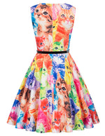 Fashion Children Girls Vintage Retro Flower/Cat Pattern Summer Sleeveless Dress