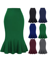 Kate Kasin Womens Causal Mermaid Fit Flare Midi Dress Fit Skinny Bodycon Skirt