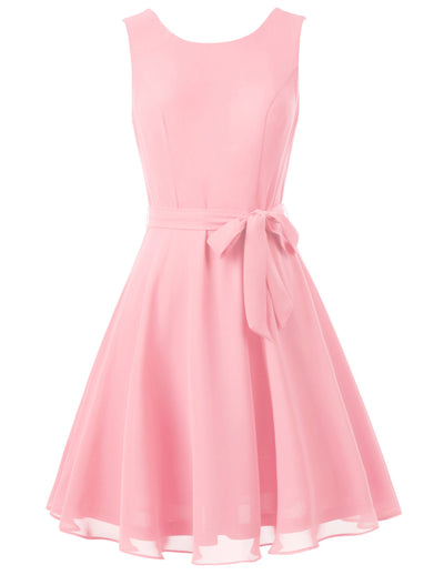 Womens 1950s Sleeveless Pinup A-line Party Evening Cocktail Swing Bow Tie Dress