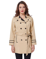 Womens Khaki Double Breasted Lapel Trench Coat Long Overcoat Slim Parkas