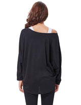 Spring Women's Casual Long Batwing Sleeve Loose T-shirt+tank Top 2pcs Set Soft