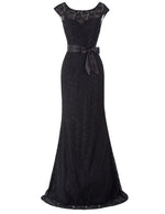 Women's Slim Long Lace V-back Evening Party Bridesmaids Wedding Ball Gown Dress