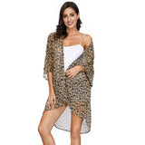 Kate Kasin Women's Summer Leopard Pattern 3/4 Batwing Sleeve Open Front Chiffon Cover-up
