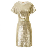 Kate Kasin Women's Sparkling Sequins Party Dress Short Raglan Sleeve Crew Neck Cocktail