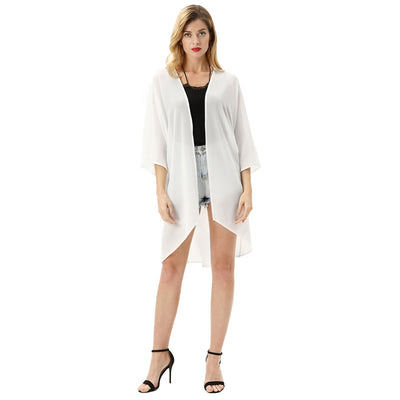 Women Beach Cover Up Sun Protection Cape Cardigan Chiffon Top Blouse Jacket Coat