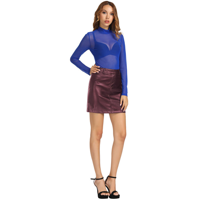KK Women's Faux Leather Polyurethane Leather Stretchy A-Line Mini Skirt