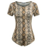 KK Women Fashion Leopard/Snake Pattern Short Sleeve Crew Neck Bodysuit Lingerie