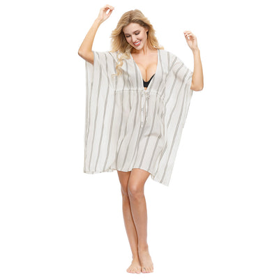 Kate Kasin Women's Striped Cover-up Pullover Drawstring Waist Deep V-Neck Beach