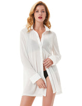 KK Sexy Women's Long Sleeve Lapel Collar See-Through Mesh Fabric Cover-Up Shirt